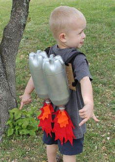 Blast Off! : Let your little one's inner moon man come out by building a DIY rocket-fueled jet pack from cardboard, two-liter bottles, felt, and straps!