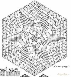 Hexagon Crochet Pattern, Free Crochet Doily Patterns, Crochet Doily Diagram, Crochet Motifs, Crochet Blocks, Crochet Squares, Filet Crochet, Crochet Designs, Crochet Doilies