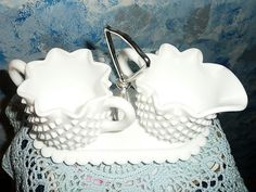 Fenton Hobnail Milk Glass Set of Creamer, Sugar with Tray from cixiscollectibles on Ruby Lane