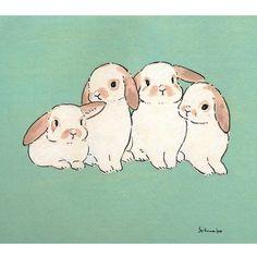 Acrylic Paint by Schinako Moriyama. Schinako Moriyama is an illustrator as bunny art from Fukushima Japan Continue reading and for more Acrylic art? Bunny Drawing, Bunny Art, Cute Bunny, Pretty Art, Cute Art, Hase Tattoos, Lapin Art, Bunny Tattoos, Rabbit Tattoos