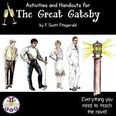 This a large unit full of activities and handouts for the novel The Great Gatsby by F. There are over 200 pages of materials included in this extensive unit. Teaching American Literature, High School Literature, Teaching English, Language Arts, English Language, Teaching Tips, Teaching Techniques, Journal Topics, Higher Order Thinking