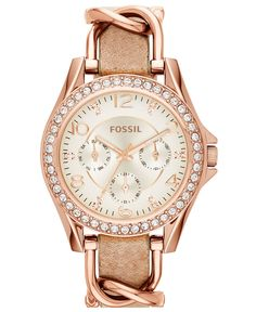 Fossil Women's Riley Rose Gold-Tone Chain and Bone Leather Strap Watch 38mm ES3466 - Watches - Jewelry & Watches - Macy's
