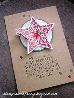 stampin with fanny: 3D-Weihnachtsstern-Karte in den klassischen X-MAS-Farben