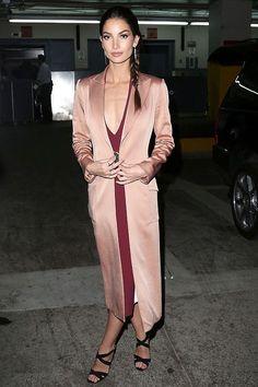 Blush pink duster blazer