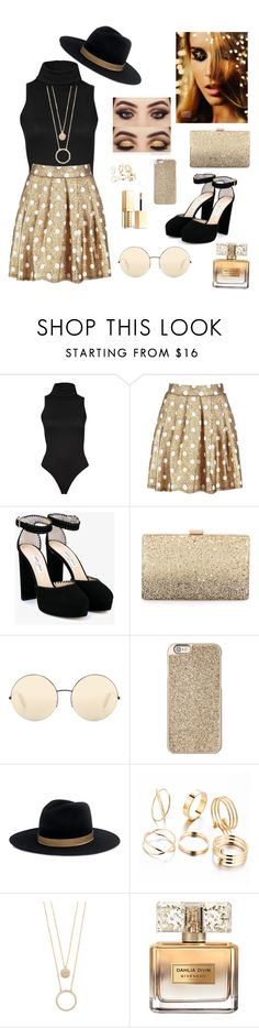 """Gold"" by manarn5 on Polyvore featuring Boohoo, Jimmy Choo, Neiman Marcus, Victoria Beckham, Michael Kors, Janessa Leone, Kate Spade, Givenchy and Stila"