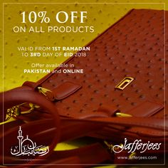Our special Ramadan promotion - 10% OFF ON ALL PRODUCTS Visit your nearest stores or shop online at www.jafferjees.com #jafferjees #premiumleathergoods #leatherproducts #ramadanoffer #discount