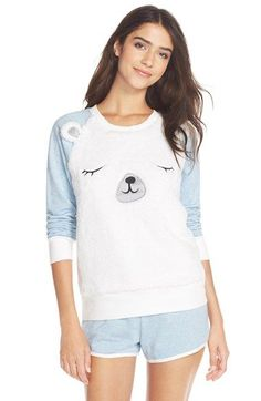 Free shipping and returns on COZY ZOE 'Polar Bear' Fleece Pajamas at Nordstrom.com. Adorable animal prints add whimsical appeal to the plush, long-sleeve top of a soft pajama set paired with French terry shorts. Cute Pjs, Cute Pajamas, Fleece Pajamas, Long Sleeve Pyjamas, Long Sleeve Tops, Other Outfits, Kids Outfits, Cute Comfy Outfits, Pajama Set