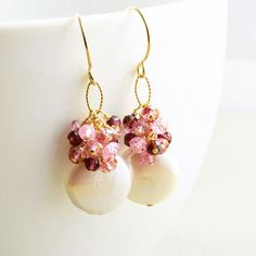 Coin Pearl Earrings Garnet Cluster Earrings June by NansGlam