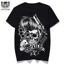 Greaser ROCKSIR 2017 New Rock T-shirt dos homens da forma do crânio impresso homme masculino hot tops Casuais camisas de manga curta tee rua desgaste(China (Mainland))