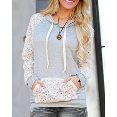 Wholesale Sweet Hooded Long Sleeve Lace Spliced Women's Pullover Hoodie Only $6.04 Drop Shipping | TrendsGal.com
