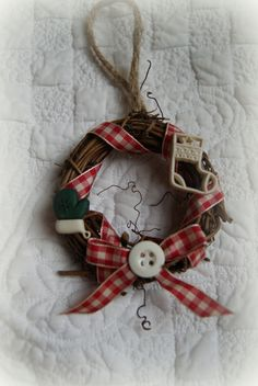 Handcrafted Small Grapevine Wreath Ornament. $5.00, via Etsy.