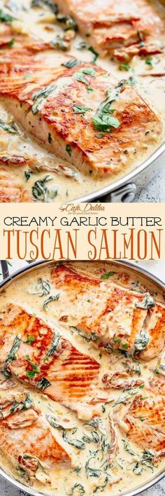 Creamy Garlic Butter Tuscan Salmon is a restaurant quality pan seared salmon in . - Creamy Garlic Butter Tuscan Salmon is a restaurant quality pan seared salmon in – Salmon Recipes - Seafood Recipes, Dinner Recipes, Cooking Recipes, Healthy Recipes, Amish Recipes, Dutch Recipes, Whole30 Recipes, Kitchen Recipes, Seared Salmon Recipes
