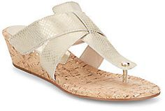 Dito Snake-Embossed Metallic Thong Wedge Sandals