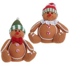 """RAZ Sitting Gingerbread Christmas Ornament Set of 2    Tan, Red, Green Made of Polyester Measures 6.5"""", 6"""" Not Intended for Children  Cute little gingerbread boy and girl wearing stocking - Buy set for $14.50 - www.trendytree.com"""