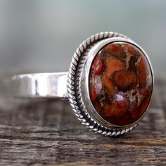 Handcrafted Sterling Silver 'Sunset Sky in Jaipur' Composite Turquoise Ring (India)