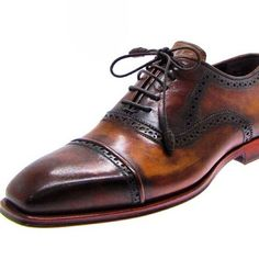 Paul Parkman Mens brown hand painted captoe oxfords with wrapped laces #handmade #luxury #menstyle #dressshoesformen