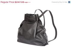 Black leather backpack bag  Black Jessy bag by LadyBirdesign, $210.00
