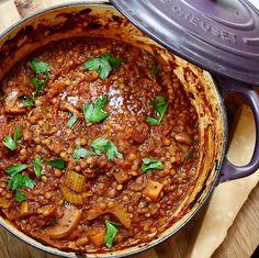 Vegan Dinner Recipes, Vegan Dinners, Vegan Recipes Easy, Vegetarian Recipes, Simple Recipes, Puy Lentil Recipes, Lentil Ragu, Pappardelle Pasta, Stuffed Mushrooms