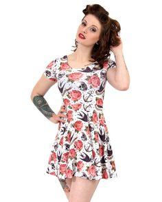 Liquor Brand Damen ROSE TATTOO-skate Kleid.Oldschool,Tattoo,Pin up,Custom Style