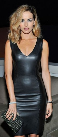 Camilla Belle stunning in a curve hugging black leather dress