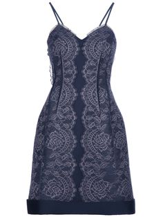 Blue dress from Lanvin featuring a tonal lace design, spaghetti straps, a rigid skirt and a centre back zip fastening.  $4310.00