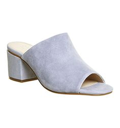 064483eac8c Office Madness Block Heel Mule Sandals Pastel Blue Suede - Mid Heels Heeled  Mules Sandals