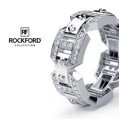Rockford Collection Where Luxury Meets Art.  BRIGGS Gold Mens Wedding Band with Flawless Diamonds.   SHOP at www.rockfordcollection.com  Worldwide Shipping