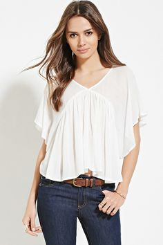 Contemporary Angel-Sleeved Top   Forever 21 - 2000077654