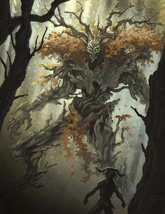 [Secrets of the Fae Folk] Tree Spirits : worldbuilding Fantasy Kunst, Dark Fantasy Art, Fantasy Artwork, Tree Monster, Monster Art, Creature Concept Art, Creature Design, Forest Creatures, Mythical Creatures
