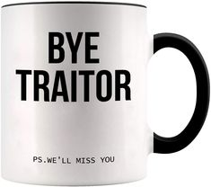 FUNNY GIFTS - These mugs make great gift! VIVID, HIGHLY READABLE TEXT - Bye Traitor P.S We'll Miss You HIGH QUALITY - These high quality, dishwasher and microwave safe mugs are made to last for years to come  Get your cheap gifts for coworkers! Cheap Gifts For Coworkers, Goodbye Gifts For Coworkers, Leaving Gifts, Amazon Gifts, Funny Gifts, Best Gifts, Mugs, Younique, Microwave