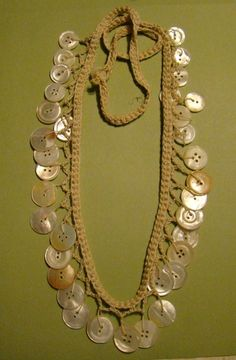 Handmade Crocheted Shell Button Necklace