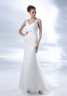 Simple but Elegant V-neck Sheath Wedding Dress-Dressfame.com