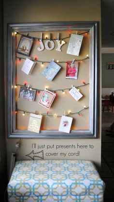 Christmas card display - love the use of Christmas lights! Merry Little Christmas, Christmas Love, Winter Christmas, Christmas Lights, Christmas Decorations, Xmas, Christmas Ideas, Christmas Card Display, Christmas Card Holders