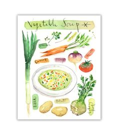 CREAM SOUPS VEGETABLES KITCHEN FOOD BOX MOUNTED CANVAS PRINT WALL ART PICTURE
