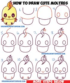 How to Draw Cute / Kawaii / Chibi Moltres from Pokemon in Easy Step by Step Drawing Tutorial for Kids