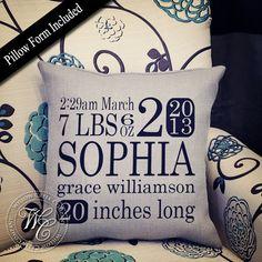 Custom Birth Stats Pillow Personalized by WillowCreekCompany