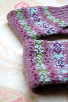 Fair Isle fingerless gloves in purple lambswool $57