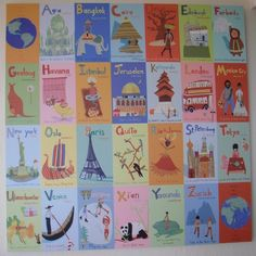 Shop World Alphabet Canvas Wall Art. Help your kids learn that there's a world beyond the local mall. Beautifully illustrated by Jenny Kostecki, artwork presents foreign cultures in context of the alphabet. Educational, engaging and easy on the eyes. Alphabet Wall Art, Map Wall Art, Art Wall Kids, Wall Murals, Art For Kids, Alphabet Quilt, Kid Art, Abc Wall, Alphabet Nursery