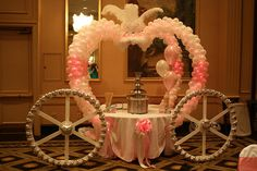 table turned into a huge princess carriage! Princess Birthday, Disney Princess Party, Princess Theme, Cinderella Sweet 16, Cinderella Party, Wedding Balloon Decorations, Wedding Balloons, Balloon Columns, Balloon Arch