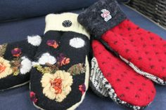 mittens from sweaters : Badger mittens would be cool,...I wonder if there are badger buttons?