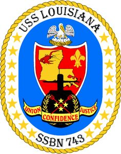 USS Louisiana SSBN -743 crest.  United States Navy‍ '​s Ohio class of nuclear-powered fleet ballistic missile submarines.