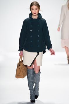 Rebecca Minkoff Fall 2014 Ready-to-Wear / Classic wool Crombie coats, slide with open ankle skirt, over the knee boots, dark green, beige, navy