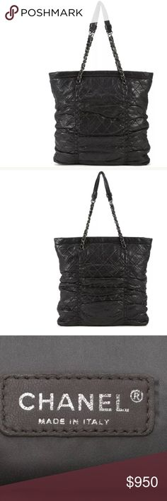 """💜authentic CHANEL black quilted sharpei tote Chanel black quilted sharpei tote. This is an incredibly good deal for an authentic Chanel bag. The bag is in nice condition but shows wear on the handles and corners as shown. Measurements 12.5"""" Length, 14"""" Height, 2"""" Depth Handle Drop: 9"""" Includes Authenticity Card Made In Italy Date Code 11684071 CHANEL Bags Totes"""