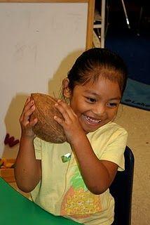 Lee's Kindergarten: Chicka Chicka Boom Boom- Exploring a coconut using 5 senses. Students graph if they liked the taste of coconut or didn't. 5 Senses Preschool, Preschool Literacy, Preschool Education, Kindergarten Science, Early Literacy, Kindergarten Classroom, Art Classroom, Classroom Ideas, Primary Science