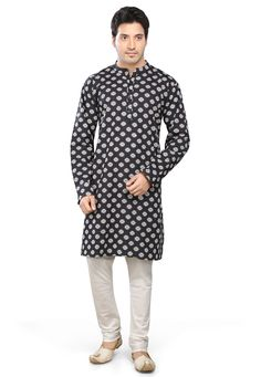 BLACK COTTON READYMADE KURTA WITH CHURIDAR