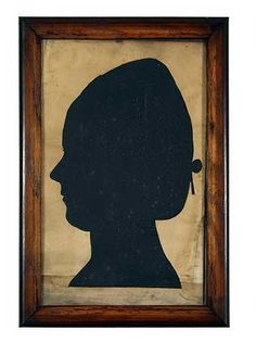 """LIFE-SIZED SILHOUETTE OF SARAH (SALLY) WISTER (1761-1804) Philadelphia, pa, early 19th century, Inscribed, """"Sarah Wister b. july 20, 1761. d. April 21, 1804 Daugh. of Daniel and Lowry Wister. author of Sally Wister's Journal of the Revolution."""" cut -out backed with black paper, framed. 17 in. x 10 3/4 in."""