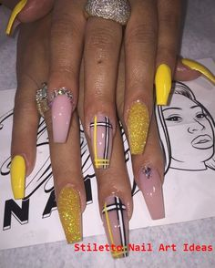 In seek out some nail designs and ideas for your nails? Listed here is our set of must-try coffin acrylic nails for modern women. Best Acrylic Nails, Acrylic Nail Art, Dope Nails, My Nails, Matte Nails, Nagel Bling, Stiletto Nail Art, Coffin Nails, Yellow Nails