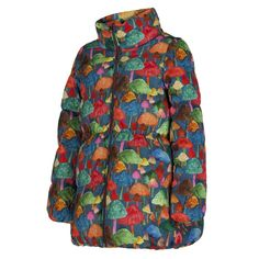 Oilily Girls Multicoloured Mushroom Print Jacket with Detachable Faux Fur Collar. Available at www.chocolateclothing.co.uk