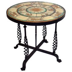 1920's Zodiac Tile Table with Iron Base