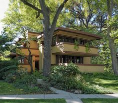 Frank Lloyd Wright's Laura Gale House in Oak Park, IL. Home to more than two dozen Wright structures, including a church, two stables and a fountain, Oak Park boasts the largest collection of Wright-designed sites in the world. Photo by GoWright [dot] org, via Flickr.